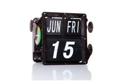 Μηχανική ημερολογιακή αναδρομική ημερομηνία που απομονώνεται Στοκ φωτογραφία με δικαίωμα ελεύθερης χρήσης