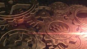 Μηχανική μηχανική μηχανή εργαλείων επιχειρησιακής έννοιας χρυσή περιστρεφόμενη απεικόνιση αποθεμάτων