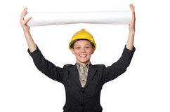Μηχανικός γυναικών με τα έγγραφα σχεδίων Στοκ φωτογραφία με δικαίωμα ελεύθερης χρήσης