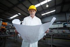 Μηχανικός εργοστασίων που εξετάζει το σχεδιάγραμμα Στοκ Εικόνες