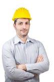 Μηχανικός με ένα κράνος στο κεφάλι του Στοκ εικόνες με δικαίωμα ελεύθερης χρήσης