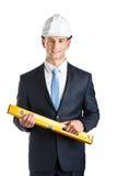 Μηχανικός με το επίπεδο Στοκ εικόνα με δικαίωμα ελεύθερης χρήσης