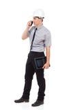 Μηχανικός που χρησιμοποιεί walkie την ομιλούσα ταινία Στοκ Εικόνες