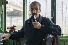 Μηχανικός στη ραδιο κινηματογράφηση σε πρώτο πλάνο Στοκ Φωτογραφίες