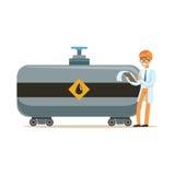 Μηχανικός της βιομηχανίας πετρελαίου που ελέγχει τη διαδικασία της διανυσματικής απεικόνισης μεταφορών πετρελαίου ελεύθερη απεικόνιση δικαιώματος
