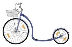 Μηχανικό δίκυκλο ποδηλάτων λακτίσματος με το καλάθι ελεύθερη απεικόνιση δικαιώματος