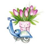 Μηχανικό δίκυκλο με τα λουλούδια Στοκ Εικόνες
