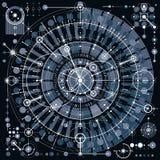 Μηχανικό σχέδιο, διανυσματικό σχέδιο εφαρμοσμένης μηχανικής με τη γεωμετρική ισοτιμία Στοκ εικόνα με δικαίωμα ελεύθερης χρήσης