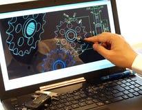 Μηχανικό σχεδιάγραμμα CAD σχεδίου κομματιού στοκ φωτογραφία