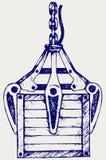 Μηχανικό χέρι γερανών και ξύλινο κιβώτιο διανυσματική απεικόνιση