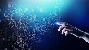 Μηχανισμός εργαλείων στην εικονική οθόνη Ροή διαδικασίας αυτοματοποίησης και επιχειρήσεων Έννοια επιχειρήσεων και τεχνολογίας στοκ φωτογραφία με δικαίωμα ελεύθερης χρήσης