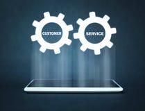 Μηχανισμός εργαλείων στην οθόνη ταμπλετών Έννοια εξυπηρέτησης πελατών στοκ εικόνα