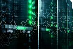 Μηχανισμός εργαλείων, ψηφιακός μετασχηματισμός, ολοκλήρωση στοιχείων και ψηφιακή έννοια τεχνολογίας στοκ εικόνα