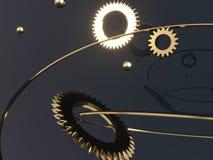 Μηχανισμός Steampunk - τρισδιάστατος δώστε την απεικόνιση Εργαλεία, πετώντας σφαίρες μετάλλων και χρυσά δαχτυλίδια ελεύθερη απεικόνιση δικαιώματος