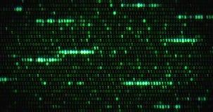 Μηδέν και ένας πράσινος δυαδικός ψηφιακός κώδικας, υπολογιστής παρήγαγε το άνευ ραφής υπόβαθρο κινήσεων βρόχων αφηρημένο