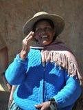 Μη αναγνωρισμένη βολιβιανή γυναίκα με τις κοιλάδες Altiplano Στοκ εικόνα με δικαίωμα ελεύθερης χρήσης