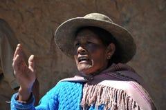 Μη αναγνωρισμένη βολιβιανή γυναίκα με τις κοιλάδες Altiplano Στοκ εικόνες με δικαίωμα ελεύθερης χρήσης
