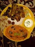 Μη veg ινδικό πιάτο που εξυπηρετείται στο πέντε αστέρων ξενοδοχείο Στοκ εικόνα με δικαίωμα ελεύθερης χρήσης