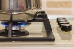 μια άλλες ανασκοπήσεις που ψαλιδίζουν τη μόνιμη χρησιμοποίηση σομπών δοχείων μονοπατιών μετάλλων κουζινών εικόνας φλογών μαγειρέμ Στοκ Φωτογραφίες