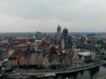 Μια άλλη άποψη στην όμορφη πόλη Gent Ευρωπαϊκή χώρα με τη μεγάλη ιστορία και καλοί πολίτες Φωτογραφία κηφήνων Δημιουργημένος στοκ φωτογραφία με δικαίωμα ελεύθερης χρήσης
