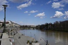 Γέφυρα του Umberto I στο Τορίνο και Murazzi Στοκ Φωτογραφίες