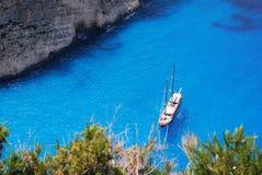 Μια άποψη της θάλασσας στην ακτή Zante Ελλάδα. Στοκ Φωτογραφία