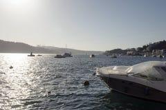 Μια άποψη του bosphorus Ιστανμπούλ και των μεγάλων σκαφών που περνούν από τη γέφυρα Στοκ φωτογραφίες με δικαίωμα ελεύθερης χρήσης