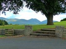 Μια άποψη των βουνών Mourne στη κομητεία κάτω στη Βόρεια Ιρλανδία από το Forest Park Castlewellan Στοκ Εικόνες