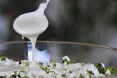 Μια άσπρη σάλτσα χύνει πέρα από την πράσινη σαλάτα Στοκ Φωτογραφία