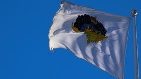 Μια άσπρη σημαία με μια κορώνα και μια κάλυψη των όπλων Στοκχόλμη Σουηδία φιλμ μικρού μήκους