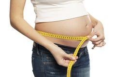 Μια έγκυος γυναίκα μετρά την κοιλιακή περιφέρεια Σε μια άσπρη ανασκόπηση στοκ φωτογραφία με δικαίωμα ελεύθερης χρήσης