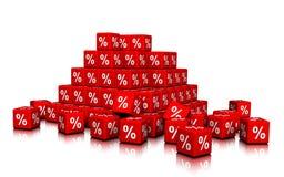 Μια δέσμη των κόκκινων κύβων με τα σύμβολα τοις εκατό Στοκ φωτογραφία με δικαίωμα ελεύθερης χρήσης