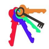 Μια δέσμη των χρωματισμένων κλειδιών Στοκ εικόνα με δικαίωμα ελεύθερης χρήσης