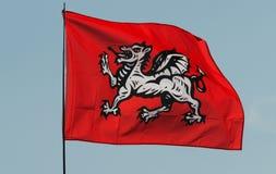 Μια αγγλική άσπρη σημαία δράκων στοκ φωτογραφία με δικαίωμα ελεύθερης χρήσης