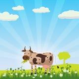 Μια αγελάδα βόσκει σε ένα λιβάδι τρώγοντας τη χλόη σε ένα τοπίο, ύφος κινούμενων σχεδίων, διανυσματική απεικόνιση Στοκ Εικόνες