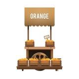 Μια αγορά οδών Ξύλινο κάρρο για τα πορτοκάλια πώλησης Πωλώντας φρούτα στο BO Στοκ Εικόνα