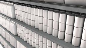 Ράφια υπεραγορών με τα γενικά προϊόντα απεικόνιση αποθεμάτων
