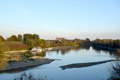 Μια αναλαμπή της Po εποχής ποταμών το φθινόπωρο Στοκ Φωτογραφίες