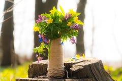 Μια ανθοδέσμη των δασικών λουλουδιών όμορφο βάζο λουλουδιών με τα λουλούδια στη φύση στοκ εικόνες