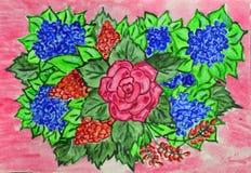 Μια ανθοδέσμη των λουλουδιών που χρωματίζονται με το watercolor σε ένα ρόδινο υπόβαθρο στοκ φωτογραφία με δικαίωμα ελεύθερης χρήσης
