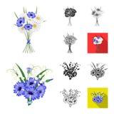 Μια ανθοδέσμη των φρέσκων κινούμενων σχεδίων λουλουδιών, ο Μαύρος, επίπεδος, μονοχρωματικός, εικονίδια περιλήψεων στην καθορισμέν ελεύθερη απεικόνιση δικαιώματος