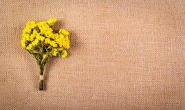 Μια ανθοδέσμη των wildflowers στο υπόβαθρο της απόλυσης Ξηρά κίτρινα λουλούδια σε ένα φυσικό υπόβαθρο λινού διάστημα αντιγράφων Στοκ Φωτογραφίες