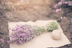 Μια ανθοδέσμη lavender και μια σφαίρα του σπάγγου Βαμμένος, ηλιόλουστος μουντός, ελαφριά ομίχλη στοκ εικόνες με δικαίωμα ελεύθερης χρήσης