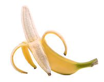 Μια ανοιγμένη ώριμη μπανάνα, που απομονώνεται στο άσπρο υπόβαθρο Μισό-ξεφλουδισμένη μπανάνα καρποί τροπικοί Yummy μπανάνα Στοκ εικόνες με δικαίωμα ελεύθερης χρήσης