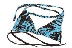 Μια ανοικτό μπλε και μαύρη χρωματισμένη ένδυση κολύμβησης γυναικείου trikini με τα σχέδια φύλλων Στοκ εικόνα με δικαίωμα ελεύθερης χρήσης