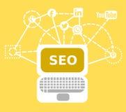 Μια απεικόνιση για τις εργασίες SEO με τα κοινωνικά δίκτυα, το lap-top και όλα τα είδη συνδετικότητας απεικόνιση αποθεμάτων
