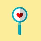 Μια απεικόνιση είναι ένας βήχας, μια καρδιά πιό magnifier Μπορέστε να χρησιμοποιηθείτε στους διάφορους στόχους Στοκ φωτογραφία με δικαίωμα ελεύθερης χρήσης