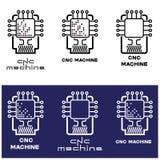 μια απεικόνιση που αποτελείται από διάφορες εικόνες του επεξεργαστή και της μηχανής με τον αριθμητικό έλεγχο προγράμματος Στοκ φωτογραφία με δικαίωμα ελεύθερης χρήσης