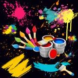 Μια απεικόνιση των βουρτσών για τη ζωγραφική, δοχεία χρωμάτων, διάφορες σταγόνες, brushstrokes Στοκ εικόνα με δικαίωμα ελεύθερης χρήσης