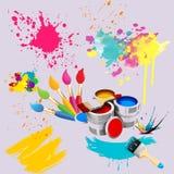 Μια απεικόνιση των βουρτσών για τη ζωγραφική, των δοχείων χρωμάτων στο υπόβαθρο των κηλίδων και smudges Στοκ εικόνες με δικαίωμα ελεύθερης χρήσης